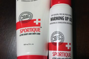 Sportique Joint and Muscle Gel and Warming Up Oil bottles for review.