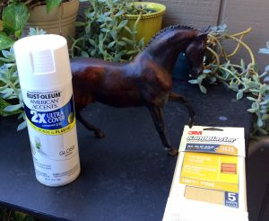 Do It Yourself of repainting Breyer model for home decor. Supplies for project.